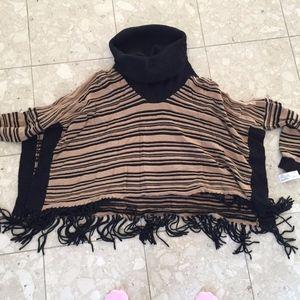 NWT Jamison cowl neck fringe sweater size M